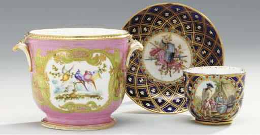 A SEVRES STYLE PINK AND GREEN