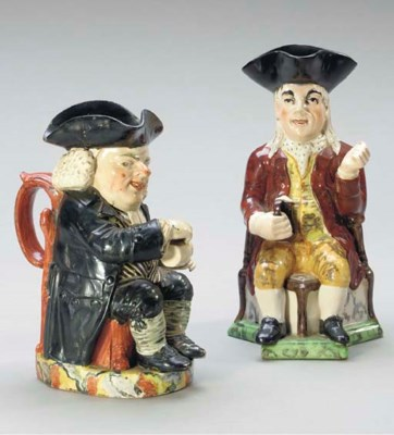 TWO STAFFORDSHIRE TOBY MUGS,