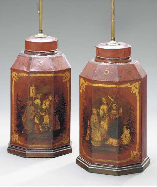 A PAIR OF CHINESE TOLE TEA CANNISTERS MOUNTED AS LAMPS,