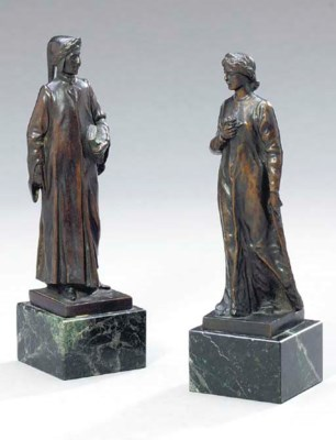 TWO ITALIAN BROWN PATINATED BR