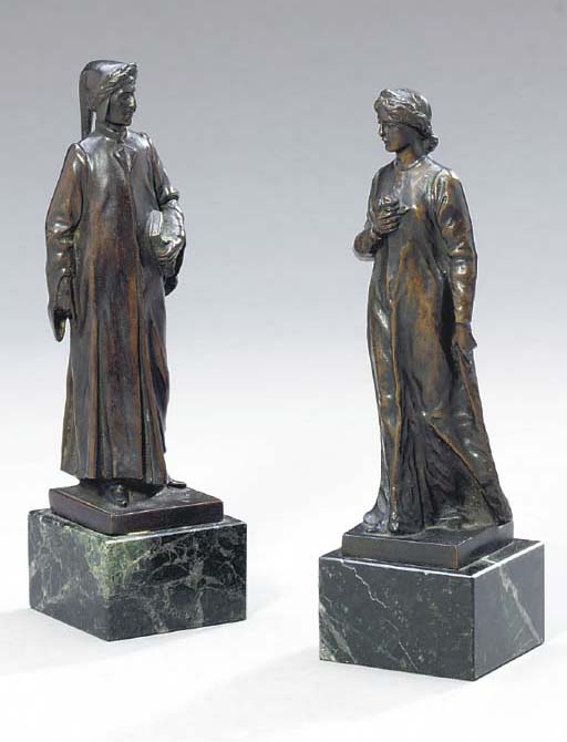 TWO ITALIAN BROWN PATINATED BRONZE FIGURES,