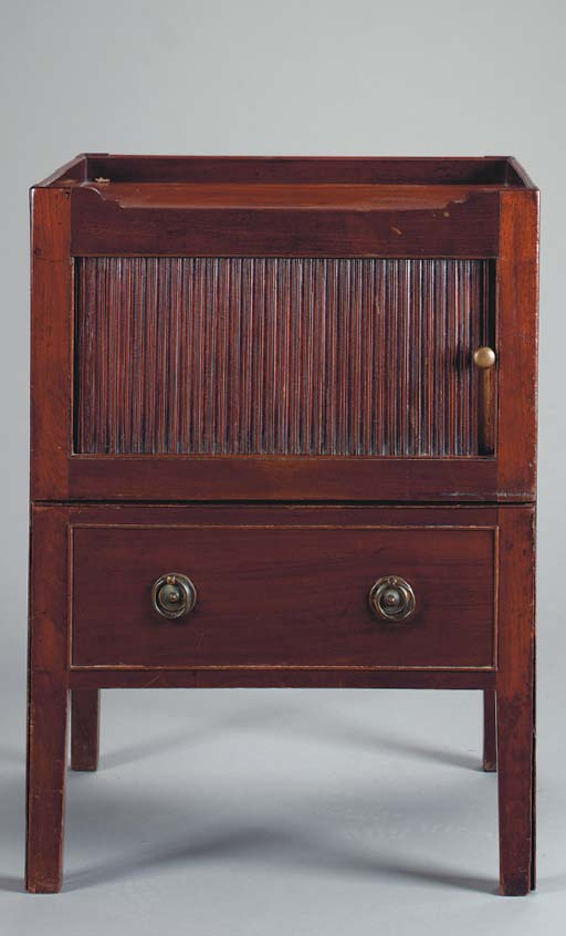 A GEORGE III PROVINCIAL CARVED MAHOGANY BEDSIDE CABINET,