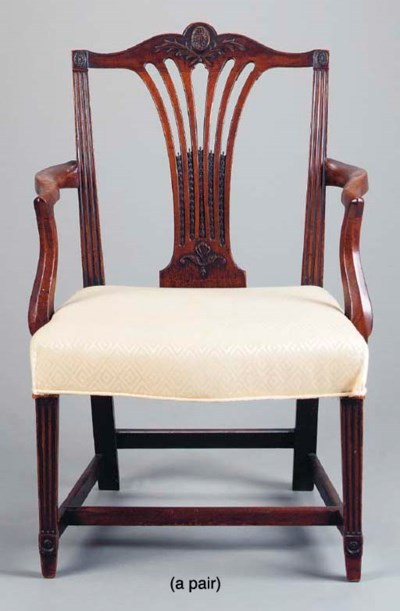TWO GEORGE III CARVED MAHOGANY