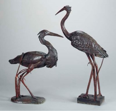 TWO PATINATED BRONZE FIGURES O