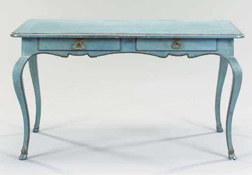 A LOUIS XV STYLE BLUE PAINTED BUREAU PLAT,