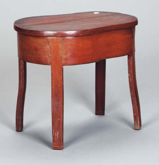 A FRENCH MAHOGANY BIDET STOOL,
