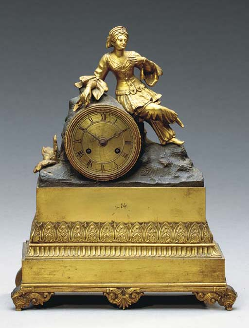 A CHARLES X PATINATED AND GILT-BRONZE FIGURAL MANTLE CLOCK,