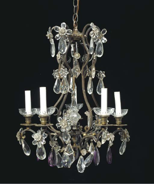 A LOUIS XV STYLE PATINATED BRONZE AND AMYTHYST CUT-GLASS SIX-LIGHT CHANDELIER,