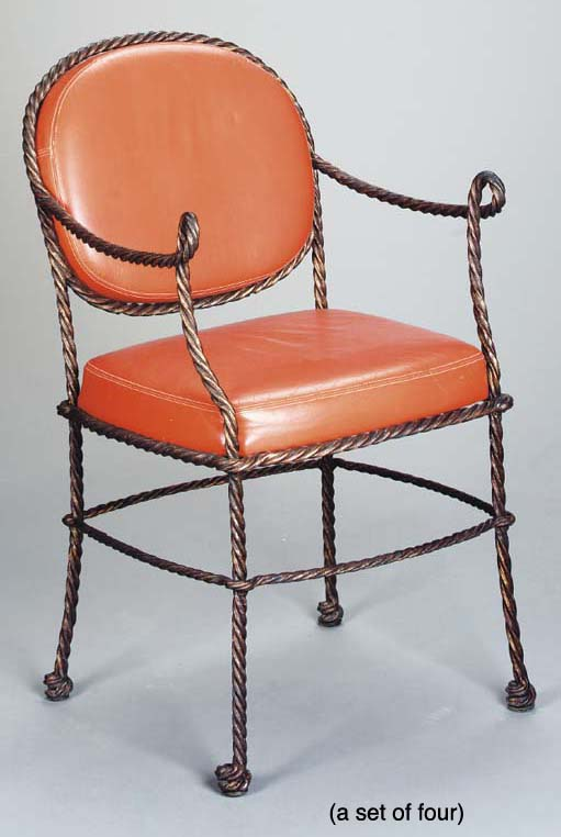 A SET OF FOUR PATINATED BRONZE ROPE TWIST ARMCHAIRS,