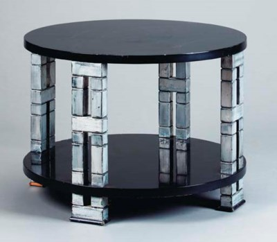 A BLACK LACQUERED AND SILVER P