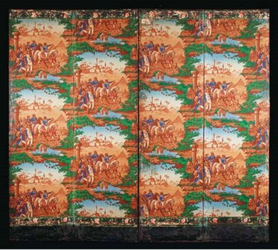 A FOUR-PANEL MOUNTED WALLPAPER