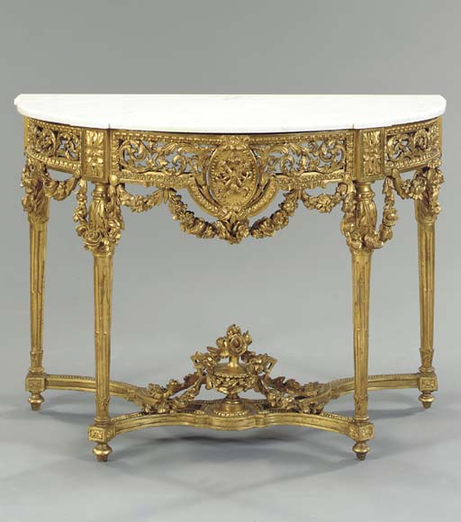 A LOUIS XVI STYLE MARBLE TOPPE