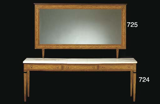 A NORTHERN EUROPEAN SATINWOOD INLAID FRUITWOOD MIRROR,