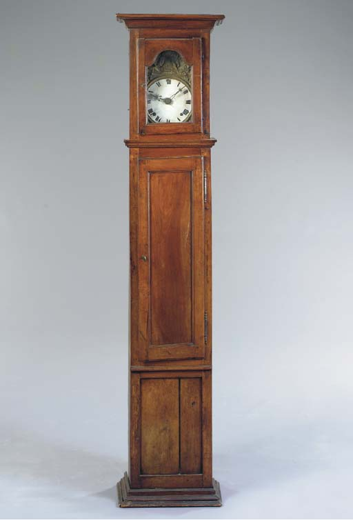 PROVINCIAL LOUIS XVI CARVED WALNUT TALL CASE CLOCK,