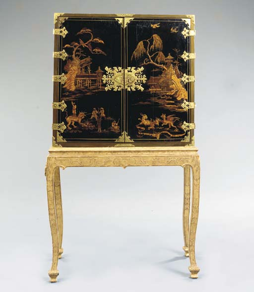 GEORGE III BLACK JAPANNED CHINOISERIE AND GILT-DECORATED CABINET ON STAND,
