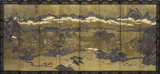 A CHINESE PARCEL GILT COROMANDEL EIGHT PANEL LACQUER SCREEN,