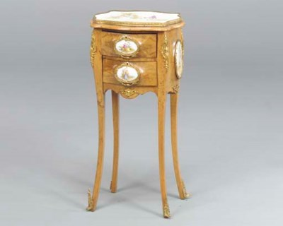 A LOUIS XV STYLE WALNUT GILT B