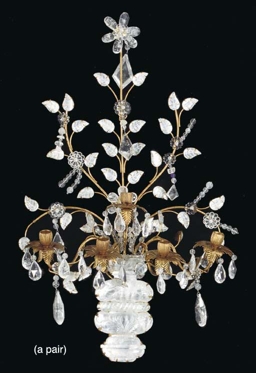 A PAIR OF GILT METAL AND ROCK CRYSTAL AND AMYTHYST BEAD MOUNTED FIVE BRANCH WALL LIGHTS,