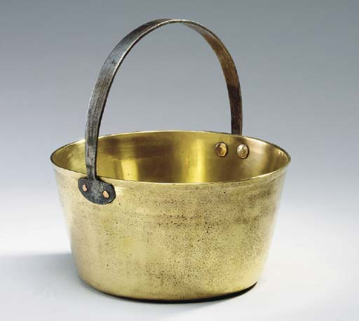 A GEORGE III BRASS BUCKET WITH