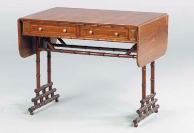 A REGENCY STYLE ROSEWOOD AND F