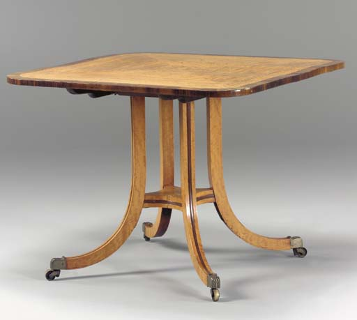 A REGENCY STATINWOOD, ROSEWOOD AND AMARANTH BREAKFAST TABLE,