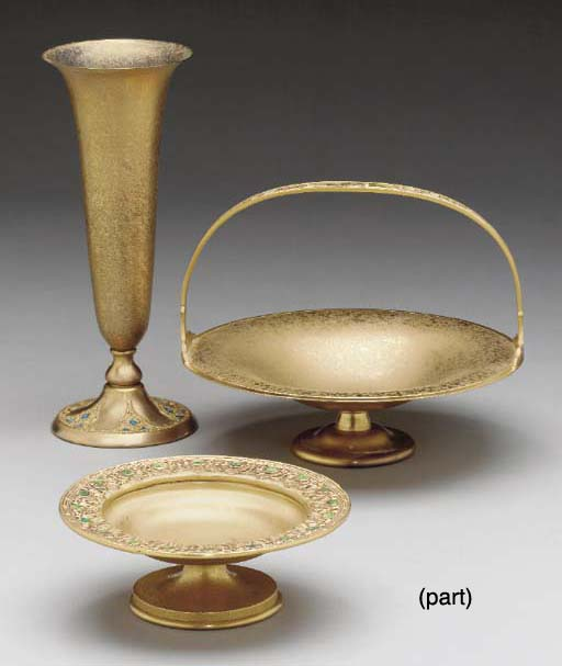 A GROUP OF THREE ENAMELED GILT