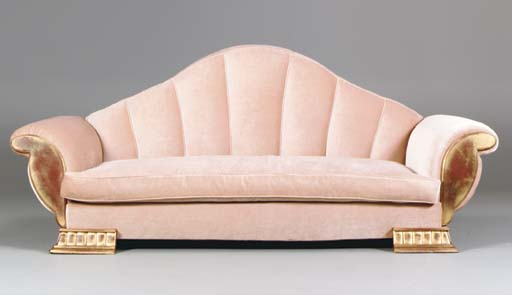 AN ART DECO STYLE GILTWOOD SOF
