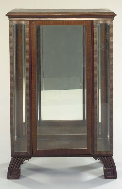 AN ART DECO WALNUT VITRINE CAB