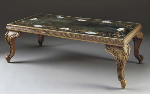 AN ITALIAN ROCOCO STYLE MIRROR GLASS AND GILTWOOD LOW TABLE,