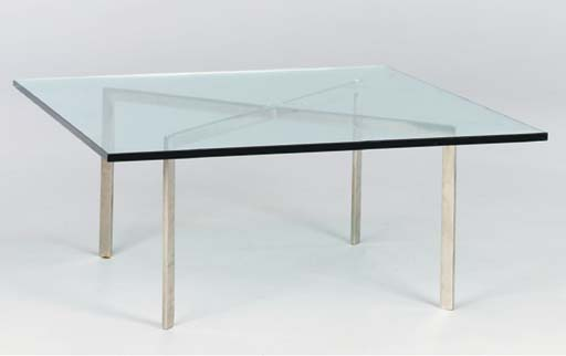 A STEEL AND GLASS 'BARCELONA' TABLE,
