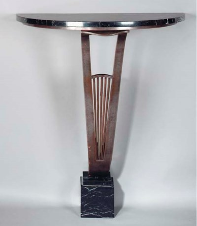 AN ART DECO MARBLE TOPPED WROU