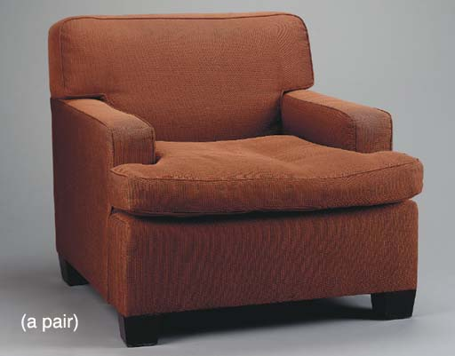 A PAIR OF BROWN UPHOLSTERED CL