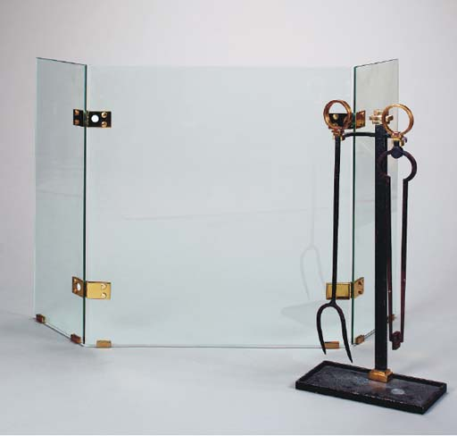 GLASS AND BRASS FIRE SCREEN WI