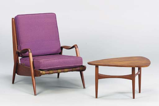 A WALNUT ARMCHAIR AND SIDE TABLE,