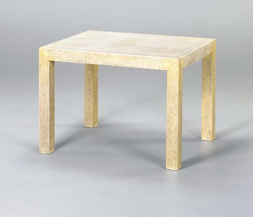 A MODERN SNAKESKIN LOW TABLE,