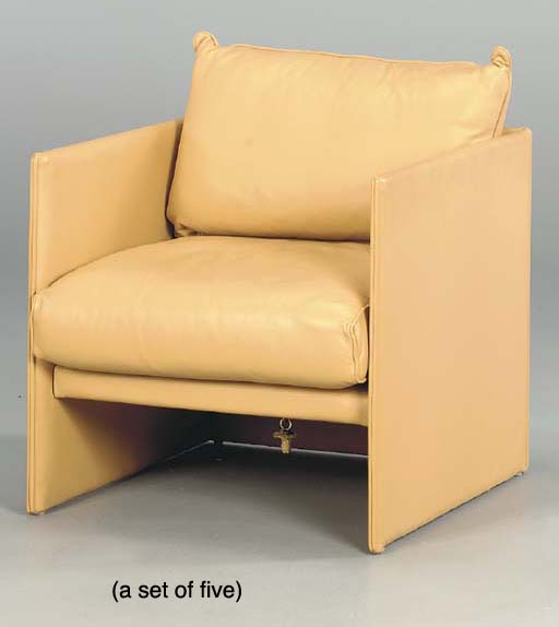 A SET OF FIVE TAN LEATHER 'BRE