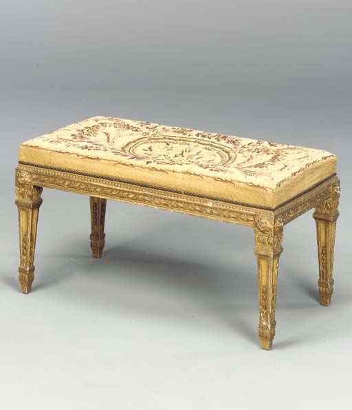 LOUIS XVI STYLE GILT WOOD BENCH WITH AUBUISSON COVER,