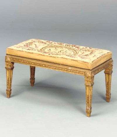 LOUIS XVI STYLE GILT WOOD BENC