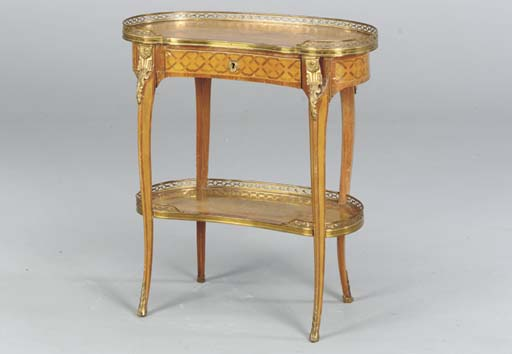 A LOUIS XV STYLE GILT-METAL MOUNTED TULIPWOOD AND MARQUETRY TABLE AU ROGNON,