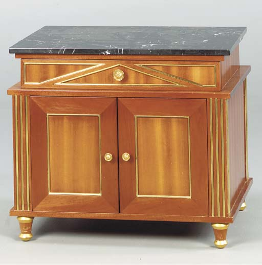 A RUSSIAN NEOCLASSICAL STYLE GILT BRASS MOUNTED MAHOGANY AND MARBLE TOPPED SIDE CABINET,