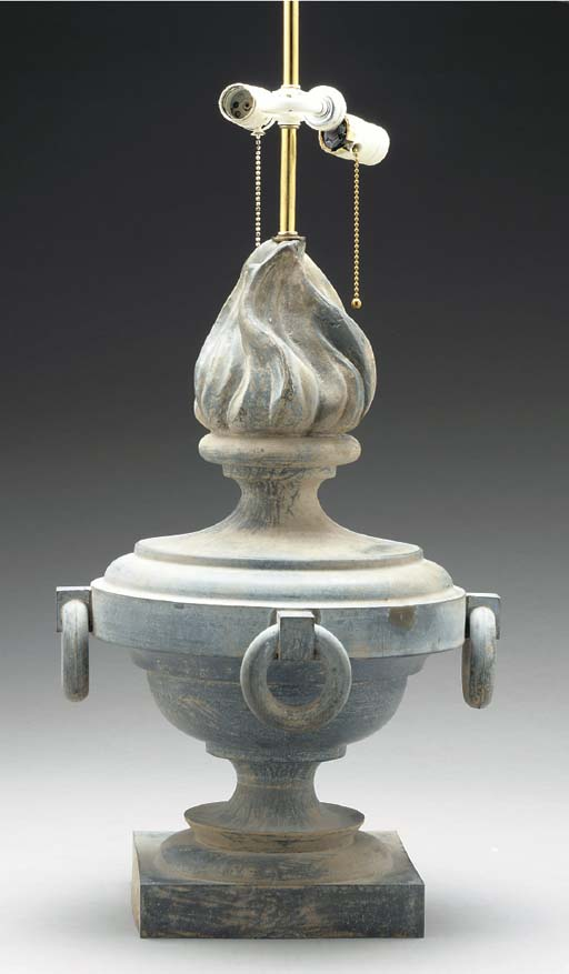 A FRENCH ZINC URN MOUNTED AS L