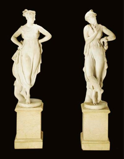 A PAIR OF WHITE MARBLE DANCING