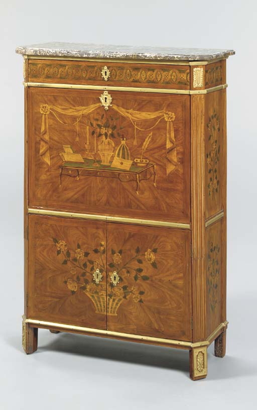 A LOUIS XVI MAHOGANY TULIPWOOD AND MARQUETRY SECRETAIRE A ABBATANT