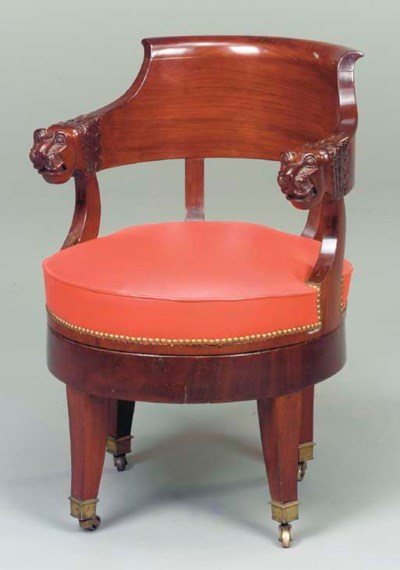 AN EMPIRE MAHOGANY BERGERE DE