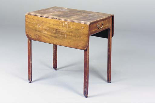 A GEORGE III MAHOGANY PEMBROKE TABLE,