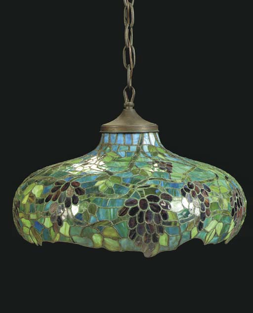 A LEADED GLASS HANGING FIXTURE