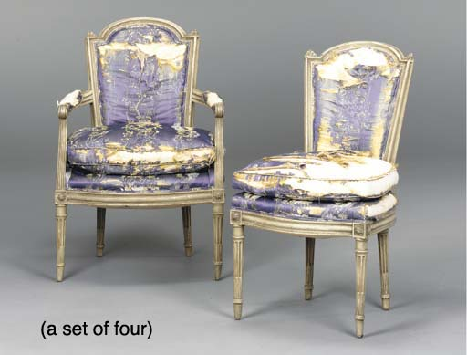 A SET OF FOUR LOUIS XVI STYLE GREEN-PAINTED FAUTEUILS,