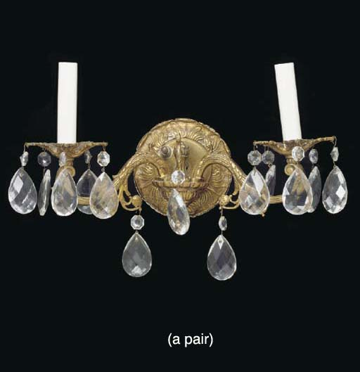 A PAIR OF SPANISH GILT METAL AND CUT GLASS TWO BRANCH WALL LIGHTS,