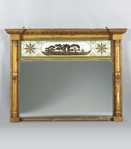 A FEDERAL STYLE VERRE EGLOMISE OVERMANTLE MIRROR,