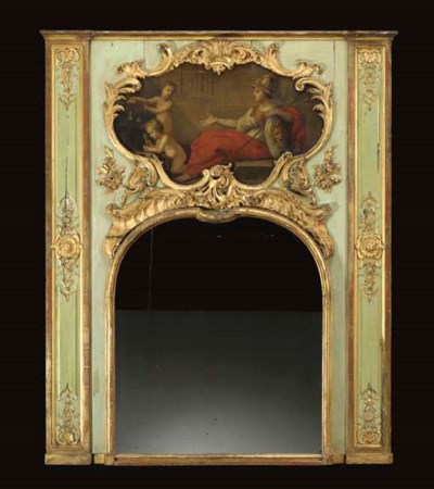 A LOUIS XV GREEN STAINED AND P